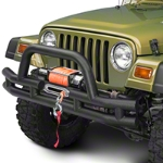 Barricade Front Tubular Bumper w/ Winch Cutout - Textured Black (87-06 Wrangler YJ & TJ) - Barricade J100164