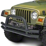 Barricade Double Tubular Front Bumper w/ Hoop Over-Rider - Textured Black (87-06 Wrangler YJ & TJ) - Barricade J100165