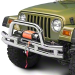 Barricade Double Tubular Front Bumper w/ Winch Cutout - Polished (87-06 Wrangler YJ & TJ) - Barricade J100509
