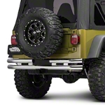 Barricade Double Tubular Rear Bumper w/ Receiver Hitch - Polished (87-06 Wrangler YJ & TJ) - Barricade J100517