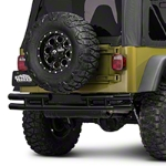 Barricade Double Tubular Rear Bumper w/ Wheel Cutout - Gloss Black (87-06 Wrangler YJ & TJ) - Barricade J100522