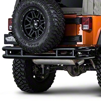 Barricade Rear Tubular Bumper w/Wrap-around - Gloss Black (07-15 Wrangler JK) - Barricade J100525