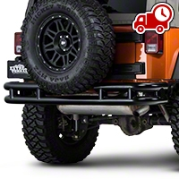 Barricade Rear Tubular Bumper w/ Wrap-around - Gloss Black (07-16 Wrangler JK) - Barricade J100525