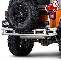 Barricade Rear Tubular Bumper w/ Wrap-around - Stainless Steel (07-16 Wrangler JK) - Barricade J100526