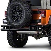 Barricade Rear Tubular Bumper - Gloss Black (07-15 Wrangler JK) - Barricade J100528