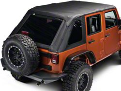 Rampage Frameless Trailtop Soft Top Kit, Black Diamond Sailcloth w/ Tinted Windows (07-16 Wrangler JK 4 Door)