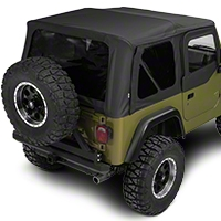 Rampage Complete Soft Top w/ Frame & Hardware and Upper Doors - Black Diamond (97-06 Wrangler TJ) - Rampage 68535