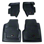 Rugged Ridge All Terrain Floor Liner Kit -1st & 2nd Row, Black (97-06 Wrangler TJ) - Rugged Ridge 12987.1||12987.1