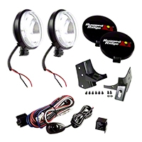 Rugged Ridge 2 Windshield Mount Lights, Black, Slim, 100W w/Mounting Brackets & Wiring Harness (97-06 Wrangler TJ) - Rugged Ridge 12495.06