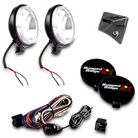 Rugged Ridge 2 Windshield Mount Lights, Black, Slim, 100W w/Wiring Harness (07-13 Wrangler JK) - Rugged Ridge 12496.04