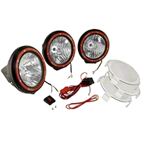 Rugged Ridge 3 HID Offroad Fog Lights, Black, 5 in. Round w/Composite Housing & Wiring Harness (Universal Application) - Rugged Ridge 15205.64
