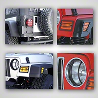 Rugged Ridge Black 8 Piece Euro Guard Light Kit (97-06 Wrangler TJ) - Rugged Ridge 12495.02