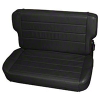 Smittybilt Fold and Tumble Rear Seat Vinyl, Black Denim (87-95 Wrangler YJ) - Smittybilt 41315