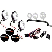 Rugged Ridge 3 Offroad Fog Lights, Black, Slim, 100W w/Front Bumper Light Bar & Wiring Harness (07-13 Wrangler JK 4 Door) - Rugged Ridge 12496.13