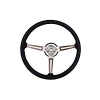 Omix-ADA Leather Sport Steering Wheel w/ 3 Metal Spoke Design - Black (87-95 Wrangler YJ) - Omix-ADA 18031.06