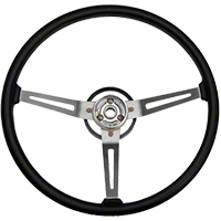Omix-ADA Sport Steering Wheel w/ 3 Metal Spoke Design - Black (87-95 Wrangler YJ) - Omix-ADA 18031.05