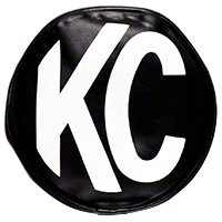 KC Hilites Black Vinyl Light Cover Pair w/ White KC Logo 6 in. Round (Universal Application) - KC Hilites 5100