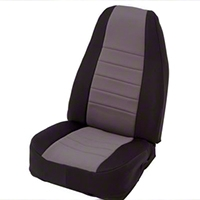 Smittybilt Custom Fit Neoprene Front Seat Covers, Black/Gray (87-90 Wrangler YJ) - Smittybilt 47422