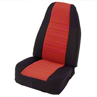 Smittybilt Custom Fit Neoprene Front Seat Covers, Black/Red (87-90 Wrangler YJ) - Smittybilt 47430