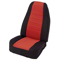 Smittybilt Custom Fit Neoprene Front Seat Covers, Black/Red (91-95 Wrangler YJ) - Smittybilt 47230