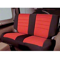 Smittybilt Custom Fit Neoprene Rear Seat Cover, Black/Red (87-95 Wrangler YJ) - Smittybilt 47330