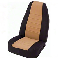Smittybilt Custom Fit Neoprene Front Seat Covers, Black/Tan (87-90 Wrangler YJ) - Smittybilt 47424