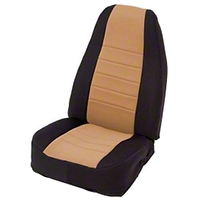 Smittybilt Custom Fit Neoprene Front Seat Covers, Black/Tan (91-95 Wrangler YJ) - Smittybilt 47224