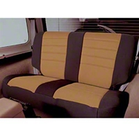 Smittybilt Custom Fit Neoprene Rear Seat Cover, Black/Tan (87-95 Wrangler YJ) - Smittybilt 47324
