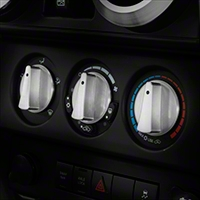 Rugged Ridge Climate Control Knob Set, Billet Style Aluminum w/ Blue Indicators, 3 Piece (07-10 Wrangler JK) - Rugged Ridge 11420.05