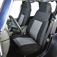 Rugged Ridge Custom Fabric Front Seat Covers Pair  Gray/Black (87-91 Wrangler YJ) - Rugged Ridge 13242.09
