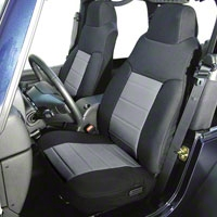 Rugged Ridge Custom Fabric Front Seat Covers Pair Gray/Black (03-06 Wrangler TJ) - Rugged Ridge 13243.09