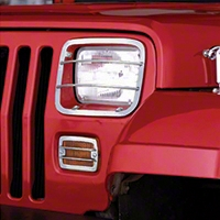 Rugged Ridge Euro-Style 4pc. Headlight & Turn Signal Kit, Stainless Steel (87-95 Wrangler YJ) - Rugged Ridge 11142.03