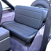 Rugged Ridge Fold & Tumble Rear Seat, Black Vinyl (87-95 Wrangler YJ) - Rugged Ridge 13462.01