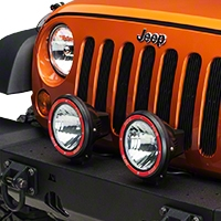 Rugged Ridge 2 HID Offroad Fog Lights, Black, 7 in. Round w/Wiring Harness (Universal Application) - Rugged Ridge 15205.53