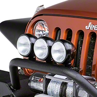 Rugged Ridge 3 HID Offroad Fog Lights, Black, 5 in. Round w/Steel Housing & Wiring Harness (Universal Application) - Rugged Ridge 15205.62