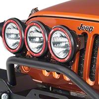 Rugged Ridge 3 HID Offroad Fog Lights, Black, 7 in. Round w/Composite Housing & Wiring Harness (Universal Application) - Rugged Ridge 15205.63