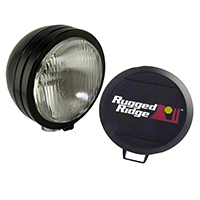 Rugged Ridge HID Offroad Fog Light, Black, 5 in. Round w/Steel Housing (Universal Application) - Rugged Ridge 15205.02