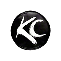 KC Hilites Light Cover Pair Blk w/Wht Brushed KC Logo 6 In. Round (Universal Application) - KC Hilites 5117