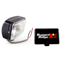 Rugged Ridge Halogen Fog Light, Black, 5x7 in., 100W (Universal Application) - Rugged Ridge 15207.05