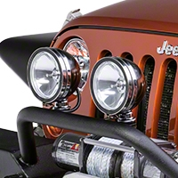 Rugged Ridge 2 Halogen Fog Lights, Black, 6 in. Round, 100W w/Wiring Harness (Universal Application) - Rugged Ridge 15207.51