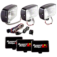 Rugged Ridge 3 Halogen Fog Lights, Black, 5 in.x7 in., 100W w/Wiring Harness (Universal Application) - Rugged Ridge 15207.65