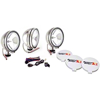 Rugged Ridge 3 Halogen Fog Lights, Stainless Steel, 6 in. Round, 100W w/Wiring Harness (Universal Application) - Rugged Ridge 15208.61