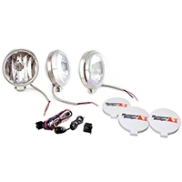 Rugged Ridge 3 Halogen Fog Lights, Stainless Steel, 6 in. Slim, 100W w/Wiring Harness (Universal Application) - Rugged Ridge 15208.68