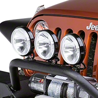 Rugged Ridge 3 Halogen Fog Lights, Black, 6 in. Slim, 100W w/Wiring Harness (Universal Application) - Rugged Ridge 15207.68