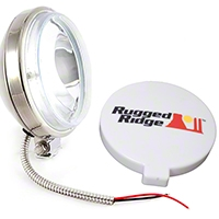 Rugged Ridge Halogen Fog Light, Stainless Steel, 6 in. Slim, 100W (Universal Application) - Rugged Ridge 15208.1
