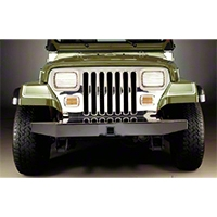 Olympic 4x4 50 in. Front Rock Bumper w/Hitch, Gloss Black (87-06 Wrangler YJ & TJ) - Olympic 4x4 543-121