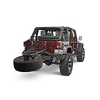 Olympic 4x4 Rear Smuggler Winch Bumper w/Tire Carrier, Gloss Black (07-13 Wrangler JK) - Olympic 4x4 5560-171