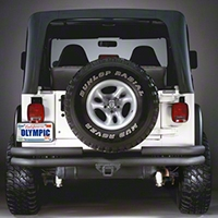 Olympic 4x4 Double Tube Rear Bumper w/Hitch (97-06 Wrangler TJ) - Olympic 4x4 353-124