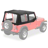 Pavement Ends Replay Top w/Clear Windows, Black Denim (88-95 Wrangler YJ w/Steel Half Doors) - Pavement Ends 51130-15
