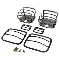 Rugged Ridge Stainless Steel 6 pc Euro Guard Light Kit, Black Chrome (87-95 Wrangler YJ) - Rugged Ridge 7961